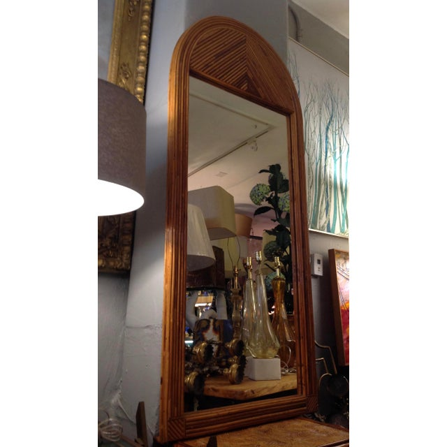 Mid Century Palladian Style Pencil Reed Rattan Mirror For Sale - Image 10 of 10