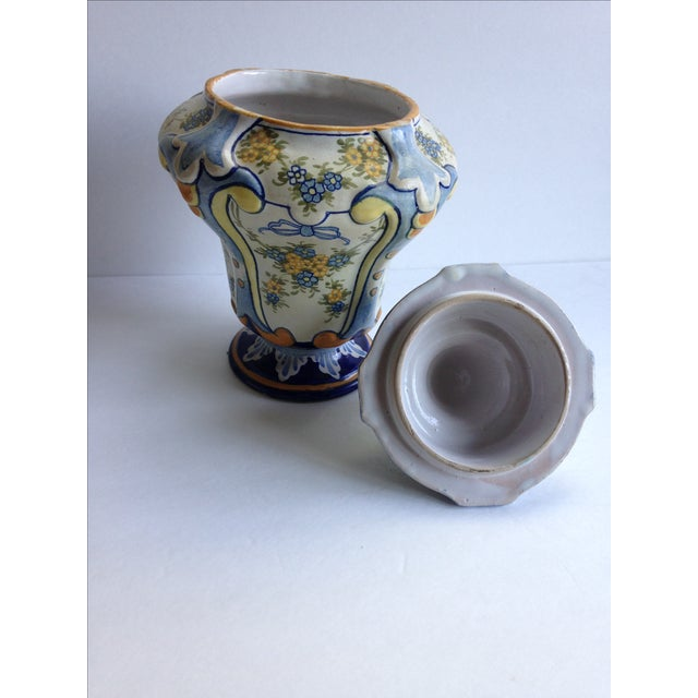 Hand-Painted Floral Italian Lidded Urn - Image 7 of 8