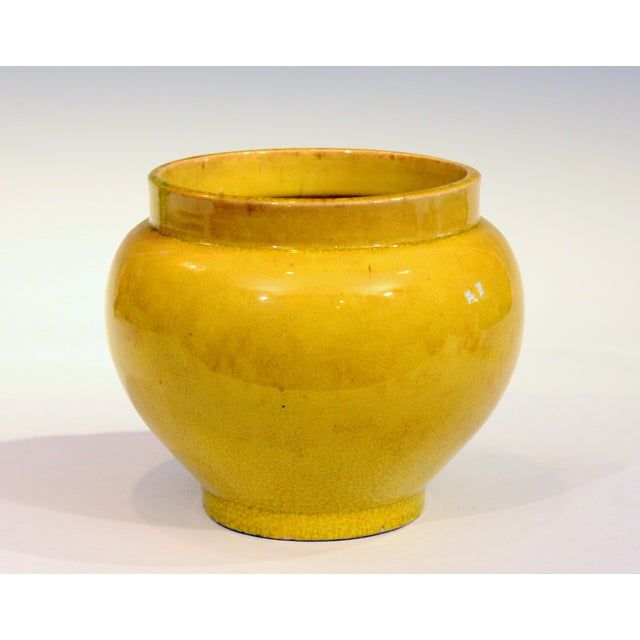 Antique Japanese Awaji Pottery Yellow Monochrome Vase For Sale - Image 10 of 10