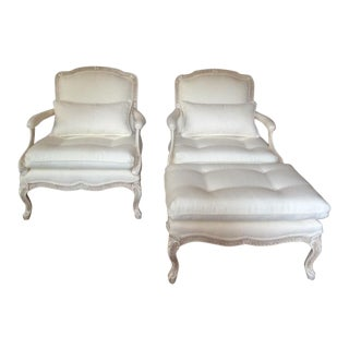 1980s Traditional White Bergere Chairs and Ottoman Set - 3 Pieces For Sale