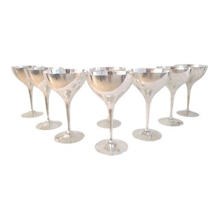 Mid-Century Italian Silverplate Cocktail Coupes - Set of 8 For Sale