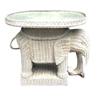 Boho Chic Wicker Elephant Side Table With Glass Top Insert For Sale
