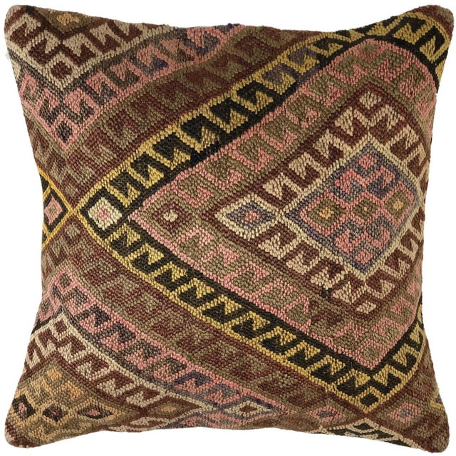 """Mid-Century Modern Muted Mid-Century Kilim Pillow 