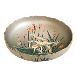 Large Vintage Ceramic Botanic Bowl For Sale