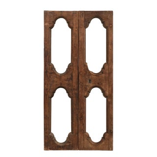 Italian 19th Century Carved Wood Doors With Pierced Central Motifs-A Pair For Sale