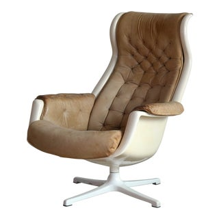 Model Galaxy Space Age Swivel Lounge Chair in Leather by Alf Svensson for Dux For Sale