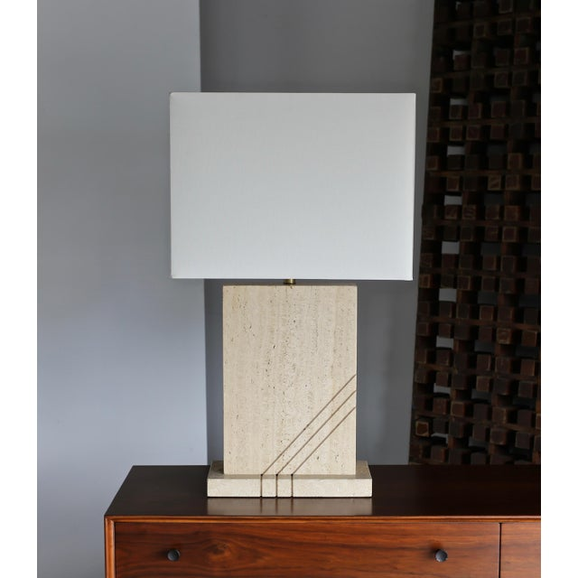 Art Deco Modernist Travertine Lamps Circa 1980 - a Pair For Sale - Image 3 of 13
