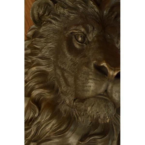 Bronze Wall Mount Lion Head Bust Bronze Sculpture For Sale - Image 7 of 8