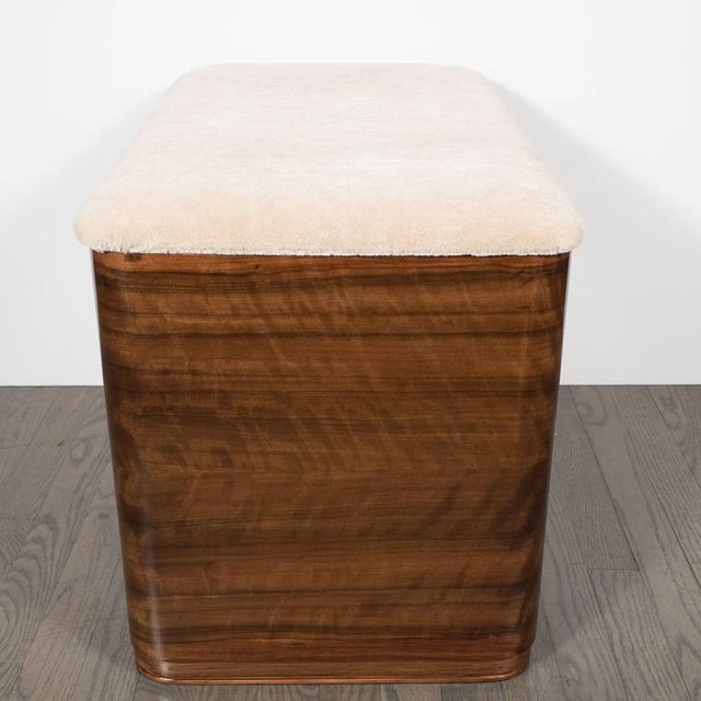 White Art Deco Machine Age Storage Bench in Bookmatched Walnut and Camel Mohair For Sale - Image 8 of 10