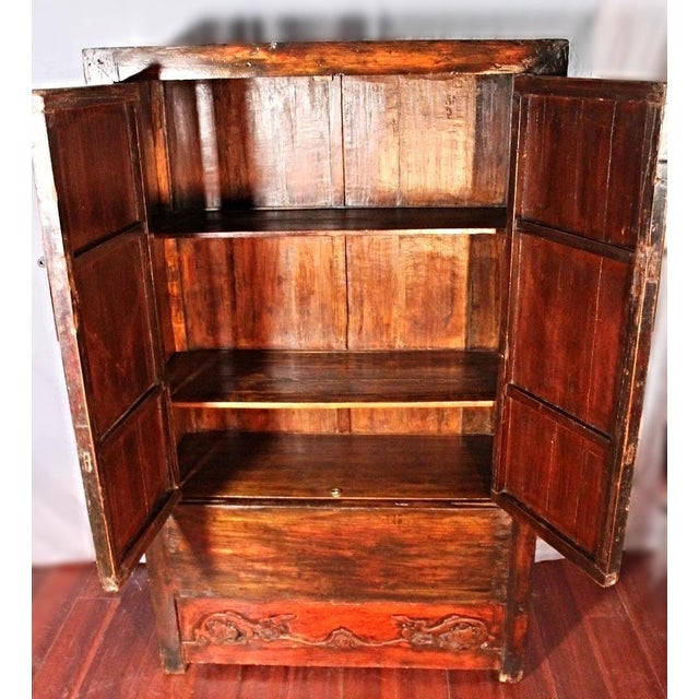 Early Chinese Armoire Lacquer Cabinet For Sale - Image 4 of 9