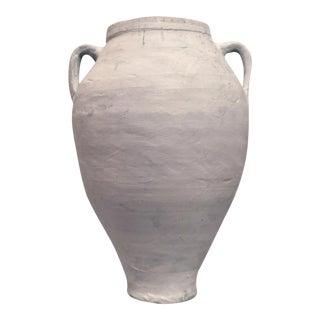 Antique Terra Cotta Olive Jar Whitewashed With Handles For Sale