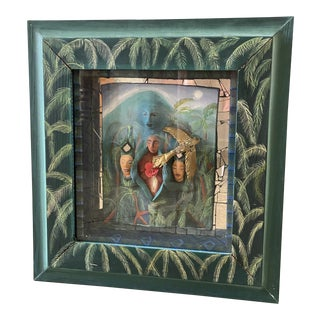 Vintage Hand Painted Mosaic Sculptural Shadow Box Framed Art For Sale