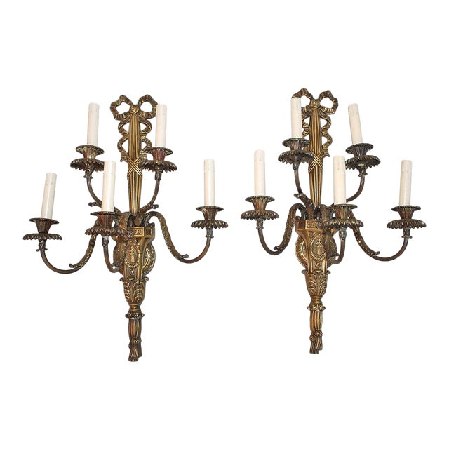 French Bronze Sconces Louis XV Style - A Pair For Sale