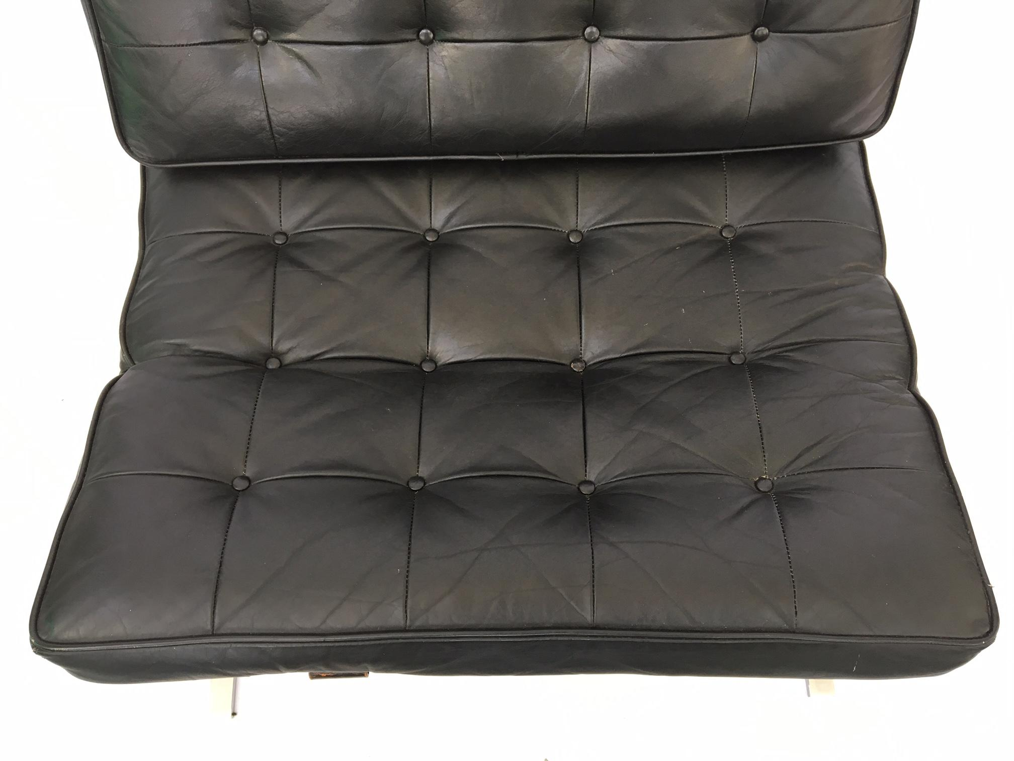 Black Leather Barcelona Chair After Ludwig Mies Van Der Rohe For Sale    Image 6 Of