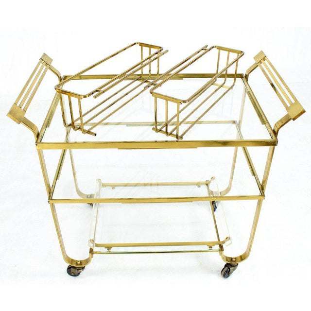 Gold Solid Brass and Glass Mid-Century Modern Bar Cart For Sale - Image 8 of 9