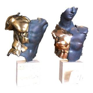 1990s Italian Borghese Torso & Bust Sculptures - 2 Pieces