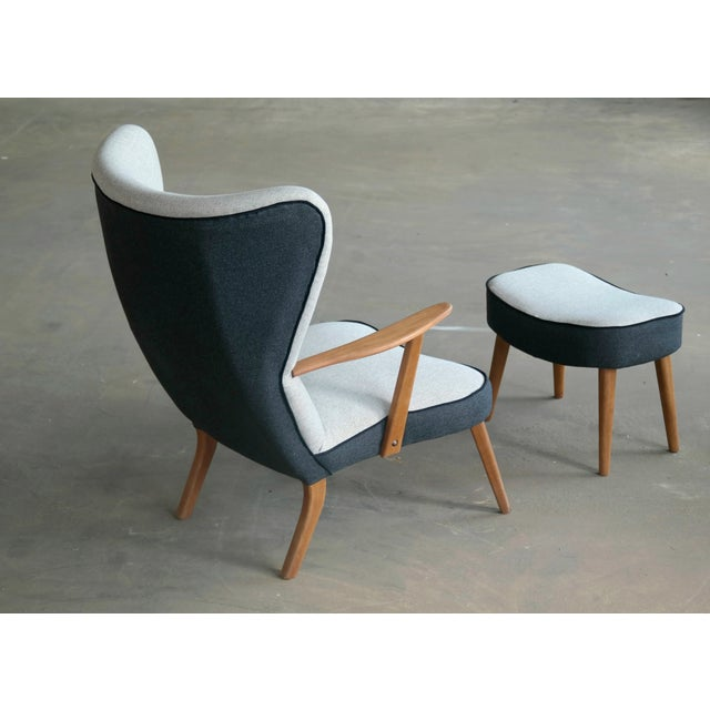 Danish 1950's Lounge Chair Model Pragh With Ottoman by Madsen and Schubell For Sale - Image 9 of 12