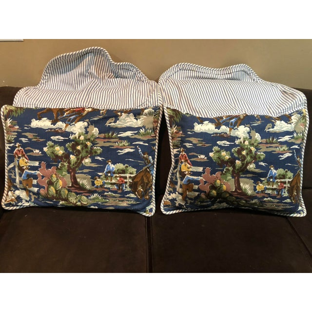 The vintage Bloomcraft Cowboy barkcloth fabric is whimsical, colorful and very rare. Features a blue & white duck striped...