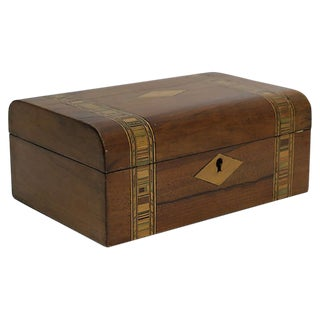 Antique Inlaid English Storage Box For Sale
