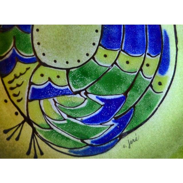 "Mid-Century Modern Mid Century Modern Curtis Jeré Enamel Bird Ashtray Bowl 11"" For Sale - Image 3 of 7"