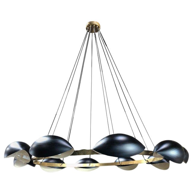 Vintage Oversize Round Brass 8 Light Chandelier, Italy, 1960s For Sale