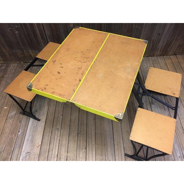 Vintage Portable Metal Folding Picnic Table Chairish