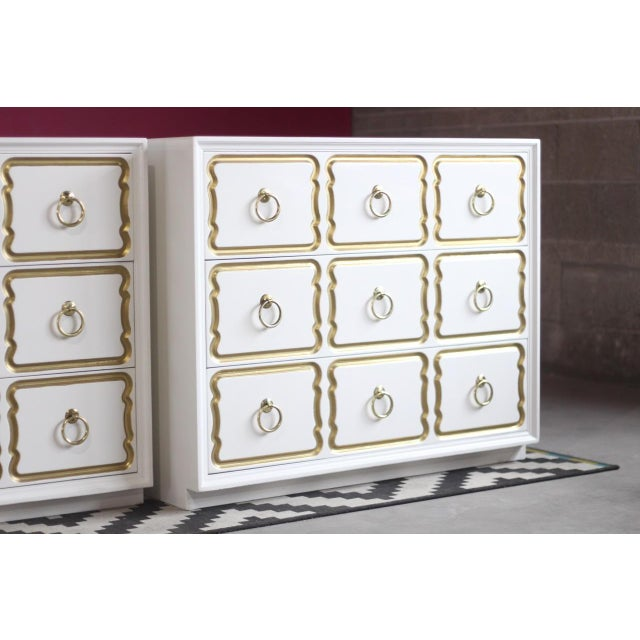 Lacquer Dorothy Draper Espana Chests Lacquered in Creamy White - a Pair For Sale - Image 7 of 11