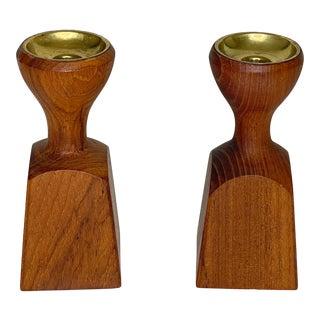 Vintage Dansk Design Quistgaard Teak & Brass Candle Holders- a Pair For Sale