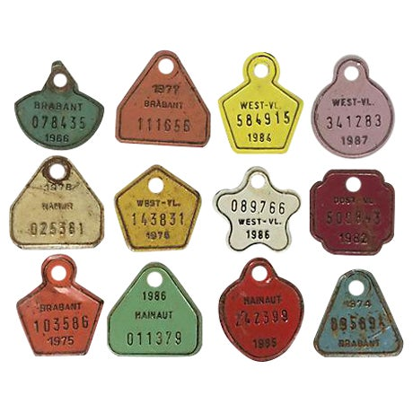 European Metal Bicycle Tags - Set of 12 - Image 1 of 3