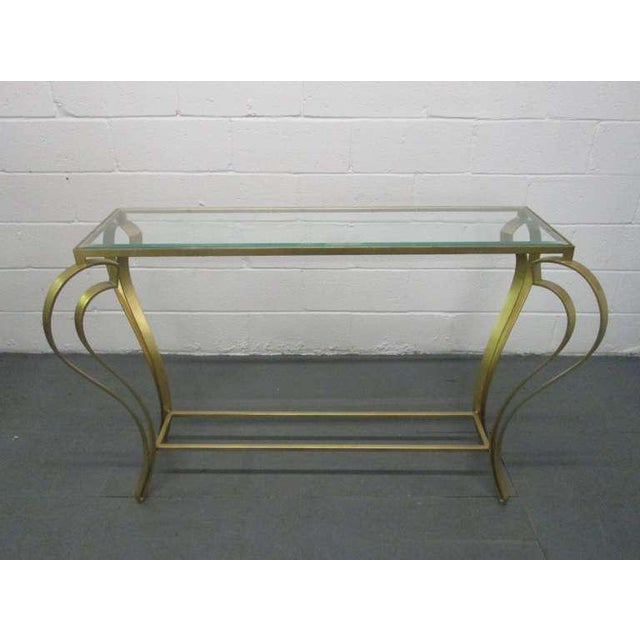Hollywood Regency Iron Gold Gild Console Table - Image 3 of 6