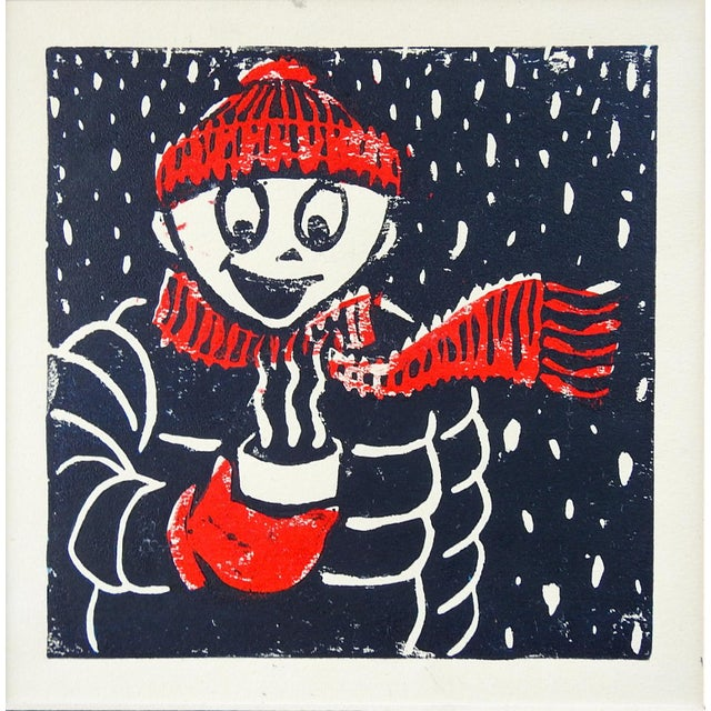 Contemporary Winter Figure & Hot Chocolate Serigraph in Red & Black For Sale - Image 3 of 3