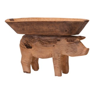 Folk Art Carved Wood Pig Vessel For Sale