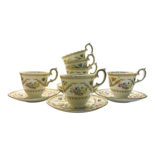 Crown Staffordshire Fine Bone China Tea Cups & Saucers Flowers - Set of 6