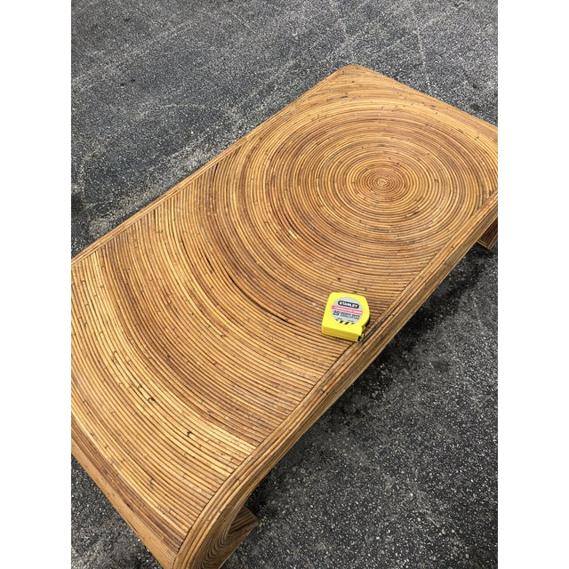 Wood 1970s Split Reed Coffee Table in the Manner of Gabriella Crespi For Sale - Image 7 of 8