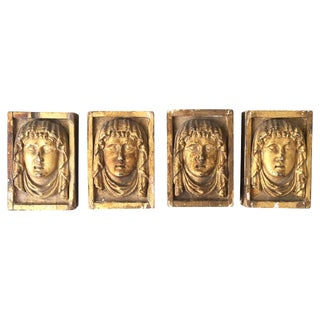 19th C. Carved Giltwood Mask Appliqués - Set of 4