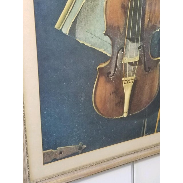 French Provincial Vintage Print of a Violin and Sheet Music For Sale - Image 3 of 8