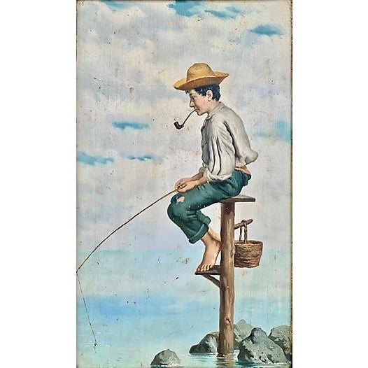 """Late-19th-century Italian School oil painting of a young man fishing. Inscribed verso """"Michele Ricei"""" and """"Napoli.""""..."""