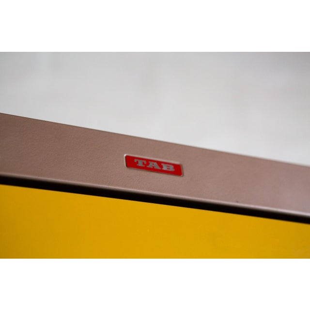 Vintage Orange & Yellow Steel Tab Office Cabinets For Sale - Image 4 of 7