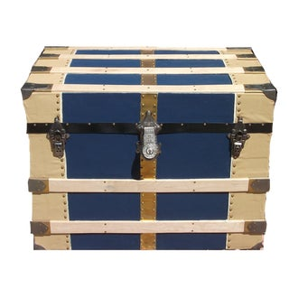 1880's Traditional Blue Steamer Trunk For Sale