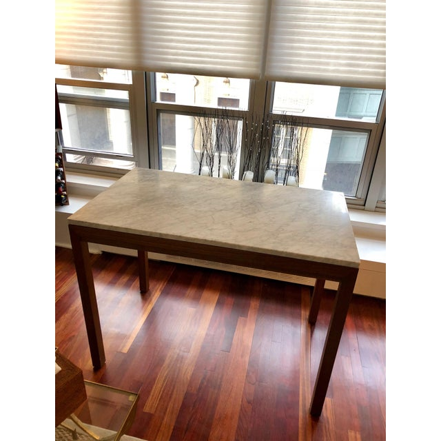 Parsons White Marble Top/ Elm Base Dining Table For Sale In Philadelphia - Image 6 of 8