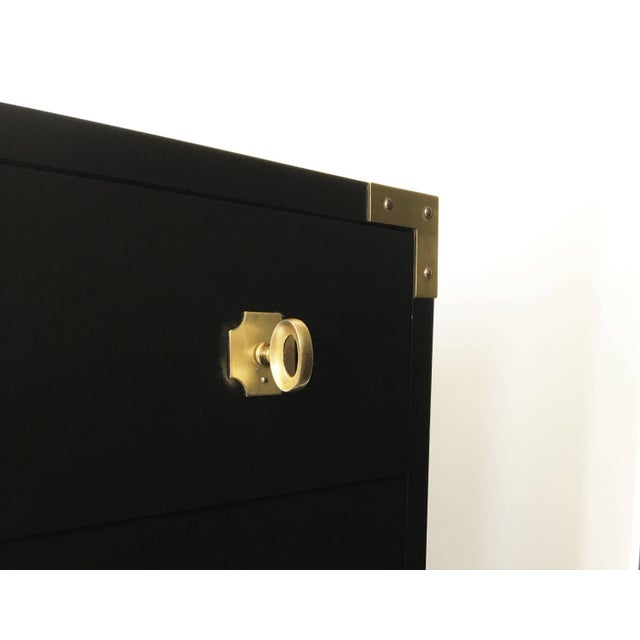 Mid 20th Century Pair of Black Lacquered Campaign Chests of Drawers For Sale - Image 5 of 8
