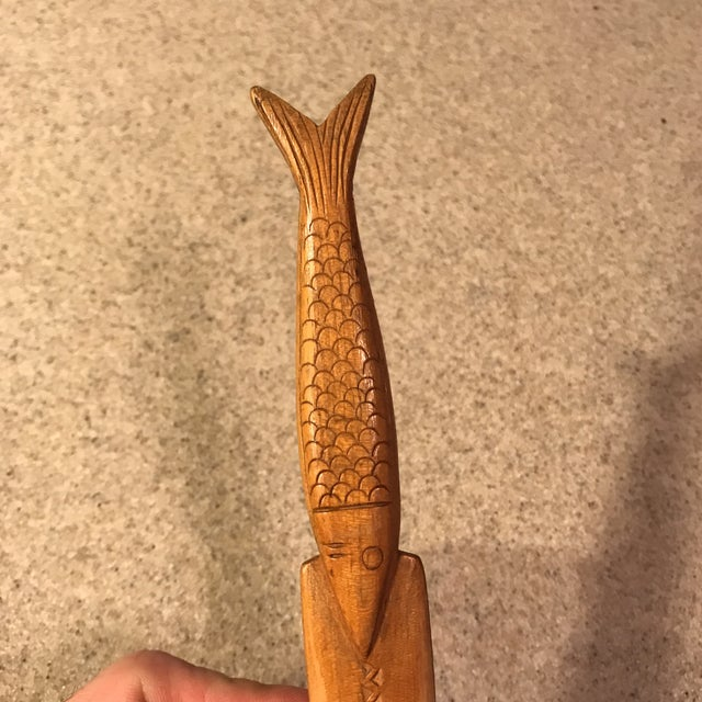 Vintage Hand-Carved Wood Fish Letter Opener For Sale - Image 4 of 10