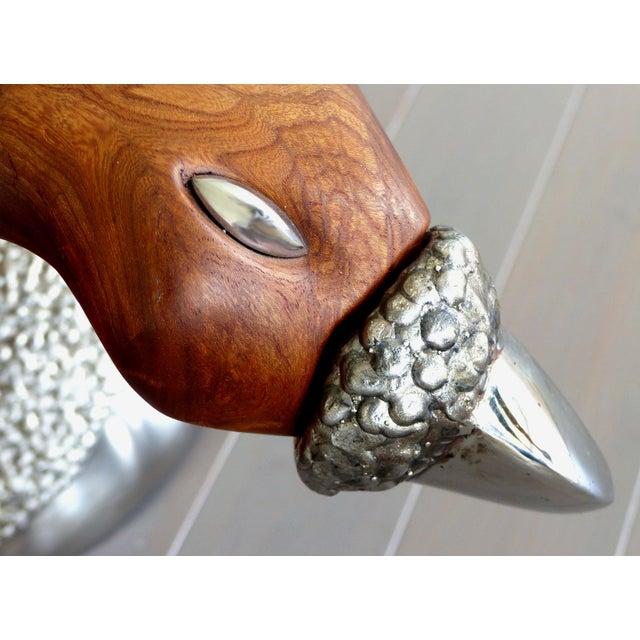 Brown Fantasy Furniture Burl & Chrome Studio Coffee Table, Figurative Eagle & Serpent For Sale - Image 8 of 13