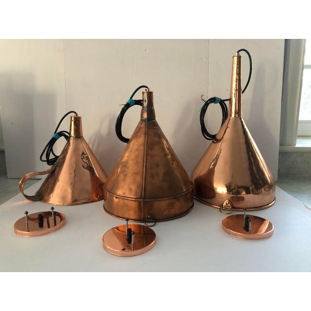 Antique 19th Century Copper Funnel Light Pendants - Set of 3 For Sale - Image 13 of 13