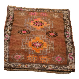 "Vintage Distressed Oushak Rug Mat - 2'1"" X 2'9"" For Sale"