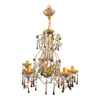 1920s French Chandelier With Colored Murano Glass Drops For Sale