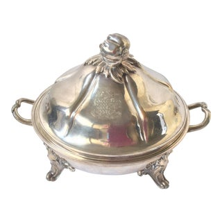 Antique Domed Silver Plated Warming Serving Dish For Sale