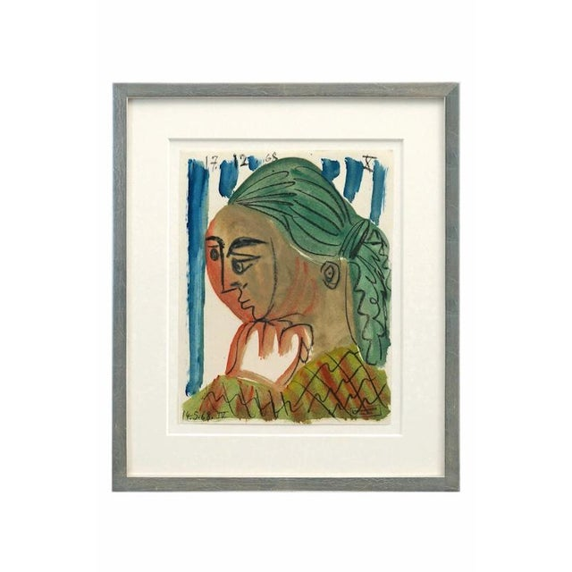 Abstract watercolor painting of woman with green hair by Raymond Debieve (1931-2011). Signed, dated December 17, 1968....