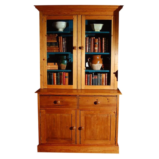 Pine Bookcase Cupboard with Drawers For Sale