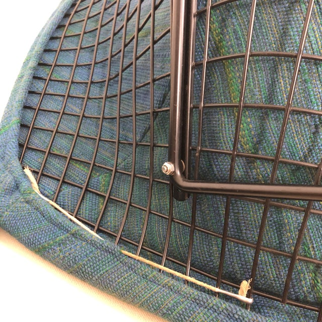 Blue Harry Bertoia Diamond Chair for Knoll / Girard Fabric -A Pair For Sale - Image 8 of 10